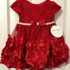 Little Girls Holiday Dress With Bloomers